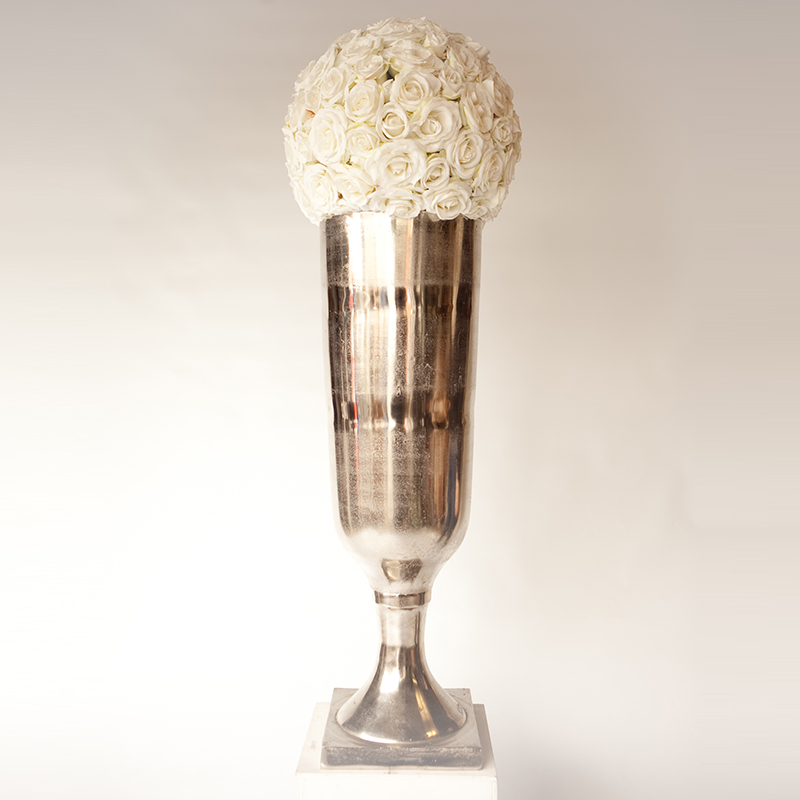 Giant Matt Antiqued Chrome Vase Hire And Style Hire And Style