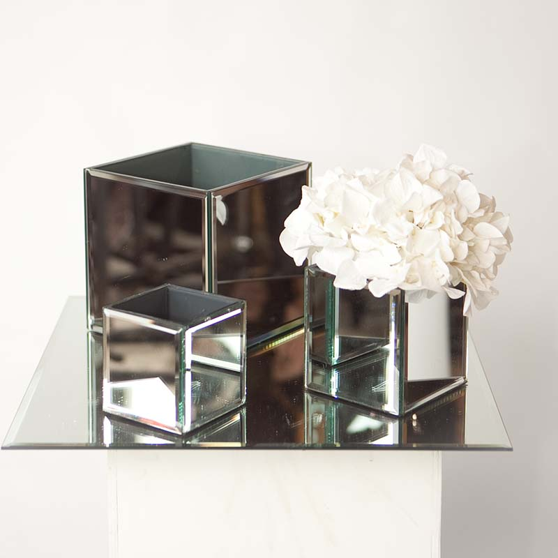 Mirrored Cube Vases Hire And Style Hire And Style