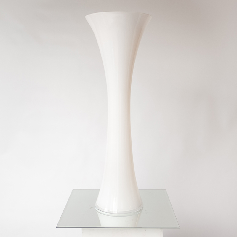 Tall White Glass Curved Vase Hire And Style Hire And Style