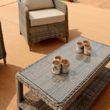 Rattan Glass Top Table Set Outdoor Furniture