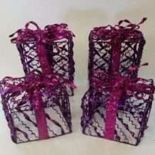 purple glitter presents