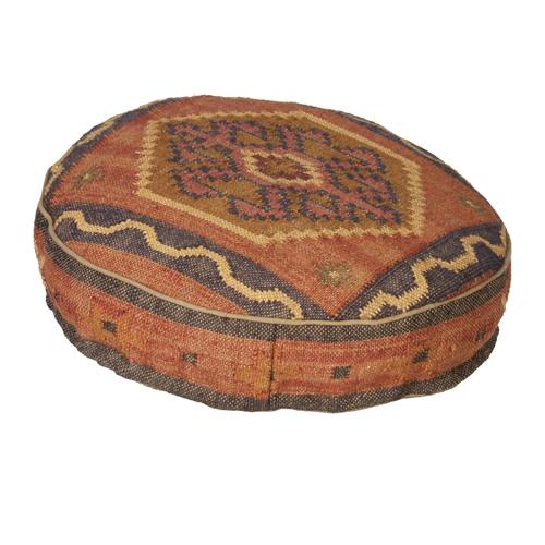 Multi Coloured Rustic Tapestry Circular Floor Cushion