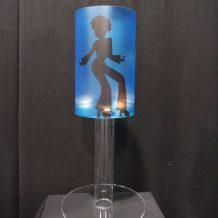 blue silhouette lamp table centre