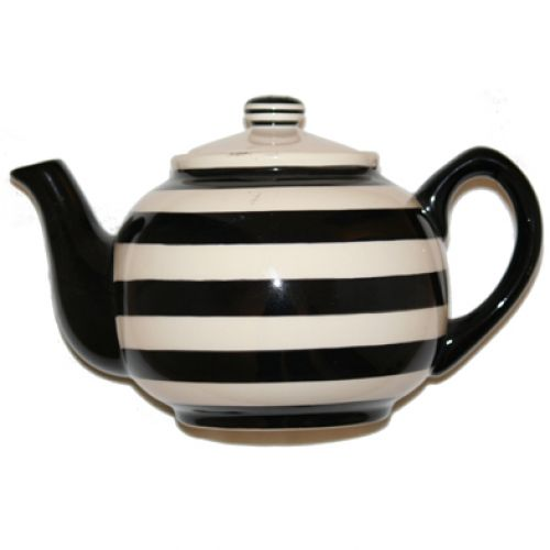 Black And White Striped Tea Pot