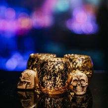 Skulls with Gold Crackle Votive